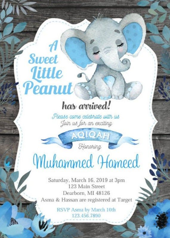 Aqiqah Invitation Elephant Theme Blue Gray Boy Aqeeqah Etsy Desain Kartu Undangan Kartu Bayi Undangan Pernikahan Lucu
