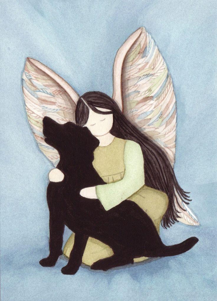 Black lab Labrador Retriever with angel / Lynch by watercolorqueen