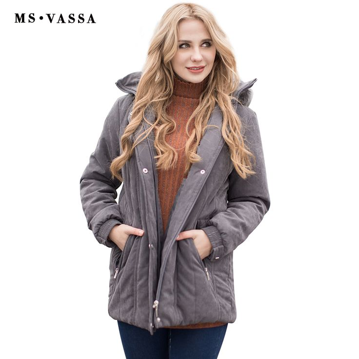 MS VASSA Ladies Parkas 2017 New Autumn Winter padded Women jacket detachable hood nice faux fur plus size 7XL casual outerwear -*- AliExpress Affiliate's buyable pin. Click the image to view the details on www.aliexpress.com #Women'sjackets