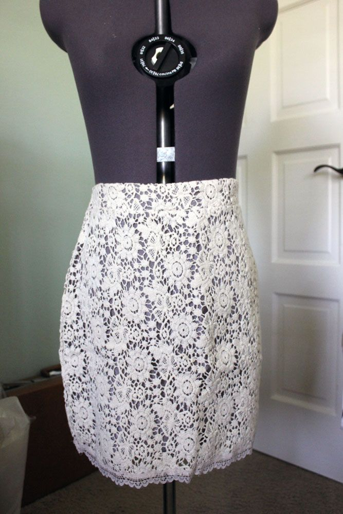Crochet lace pencil skirt from Urban Outfitters, size small. Lining is a cool grey color with an overlay of thick lace. Sell for $12 shipped