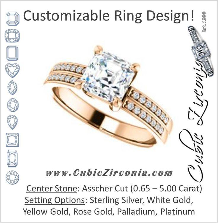 Fresh Cubic Zirconia Engagement Ring The Lyla Ann Customizable Asscher Cut Design with Wide Double