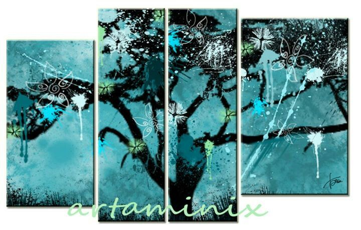 Tree art #handmade #blue #paint #modern #love #artaminix #albero #landscape