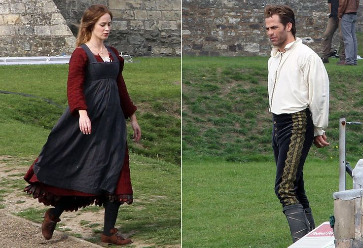 """Into the Woods"" filming - Emily Blunt (The Baker's Wife) and Chris Pine (Cinderella's Prince)."