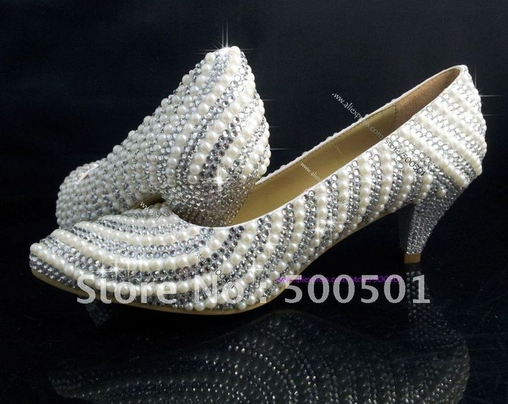 Aliexpress.com : Buy 2 Inch LOW HEEL WEDDING SHOES PEARL SWAROVSKI CRYSTAL  BRIDAL PARTY