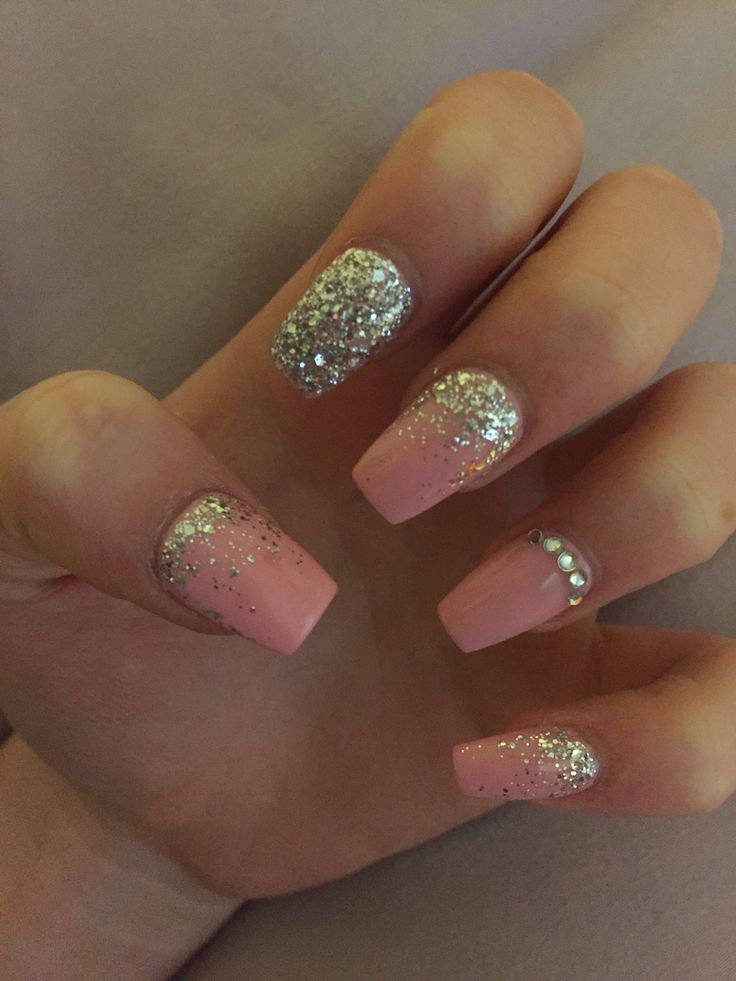 Pink & Silver coffin gel acrylic nails for prom. Ombré ...