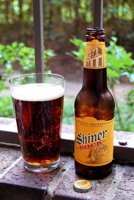 Shiner Bock: Shiner, Texas. Would you believe if you try to find this beer in some stores or restaurants in Indiana, you have to look through the IMPORTED section. And... They have the nerve to tell me that I act like I was born in another country? Hmmm... Maybe they're right... Oh, I do enjoy living in Indiana... Just have to tease...