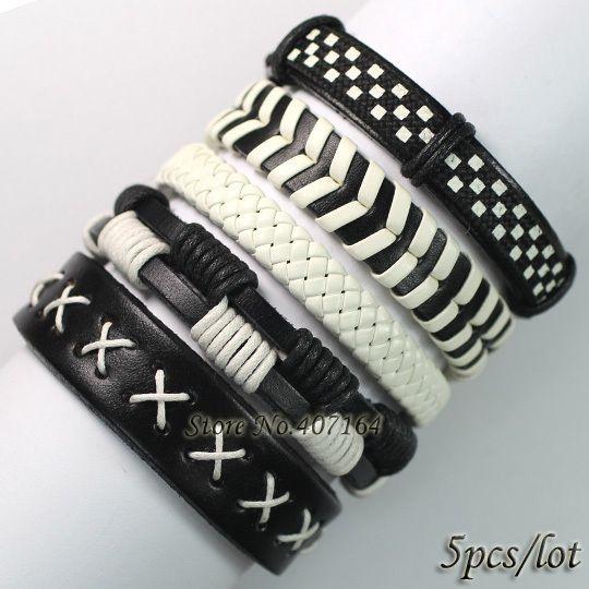 FL20-free shipping (5pcs/lot) latest 2017 cool black white genuine leather bracelet with hemp rope for men