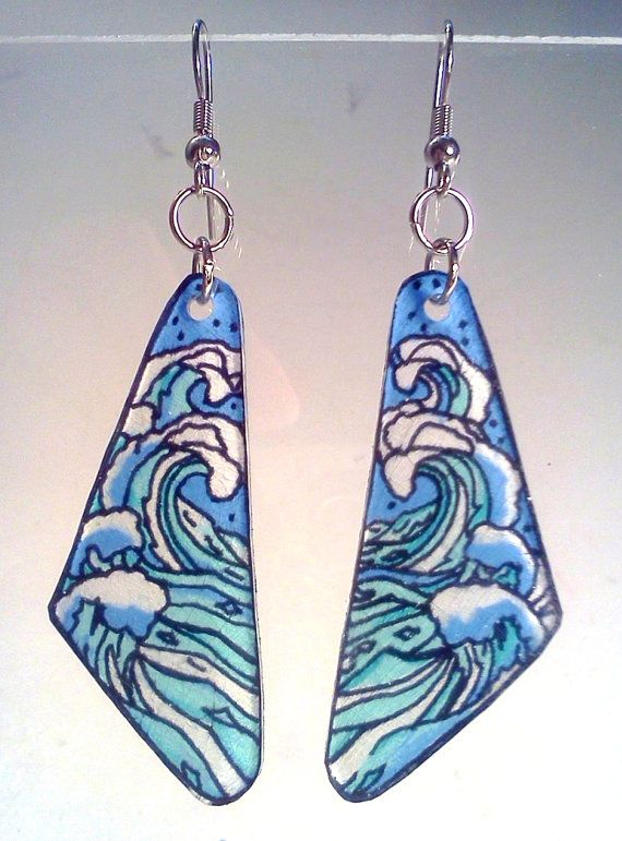 Stamp, cut, color, bake! Almost instant, almost FREE earrings! Pinball Art Shrink Plastic Earrings