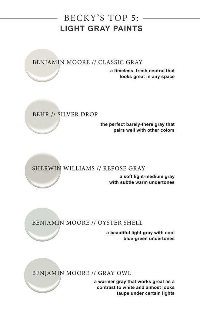 Light Gray Paints Benjamin Moore S Classic Gray Behr Silver Drop