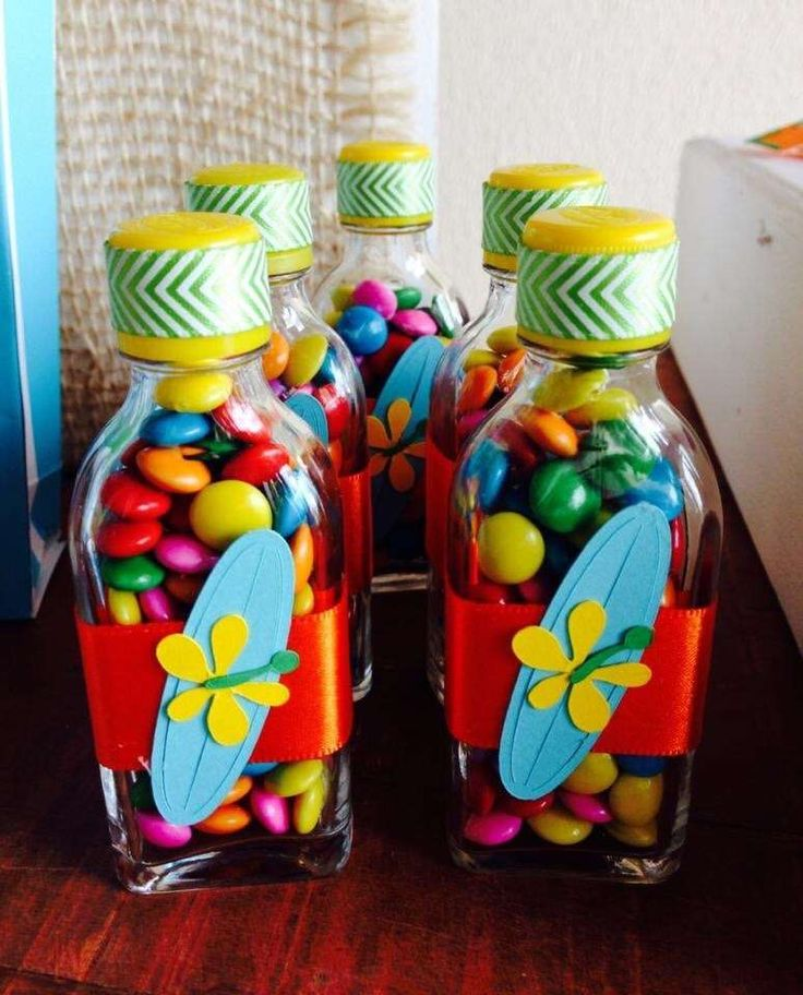 Surf birthday party candy treat favors! See more party planning ideas at CatchMyParty.com!