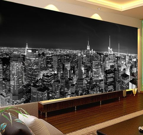 Cheap wallpaper china, Buy Quality wallpaper 1 directly from China wallpaper mural art Suppliers: New York Night lights Photo Wallpaper Customized Classic black and white Mural Wallpaper Hoom Decor  Wall Mural