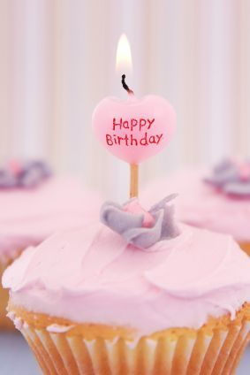 Happy Birthday Cupcake With Heart Candle