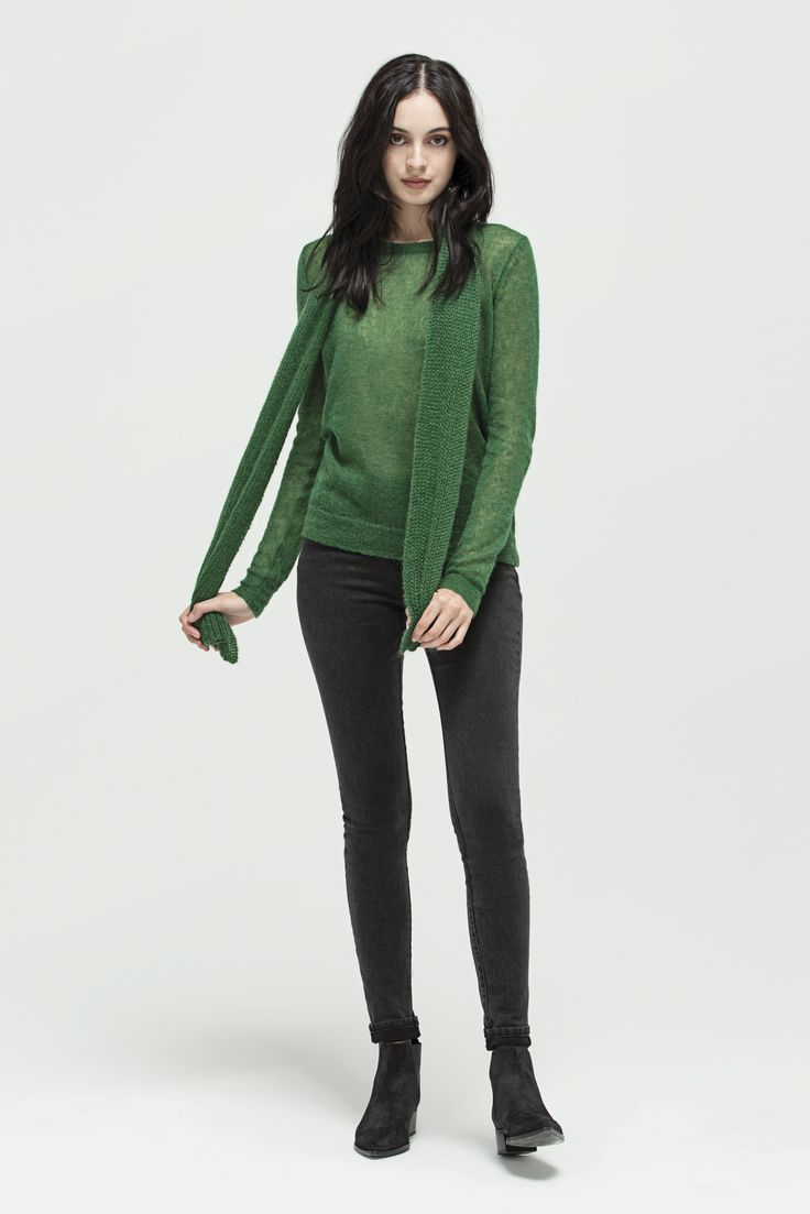 Mohair Scarf (Emerald), Cara Sweater (Emerald) and W - Mid Rise Skinny (Vintage Black)
