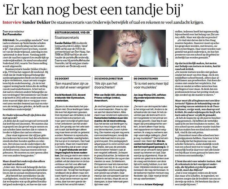 Reactie van onze staatssecretaris @Sander Dekker in de NRC op rapport @Onderwijsraad. pic.twitter.com/9UMwVUc4m9