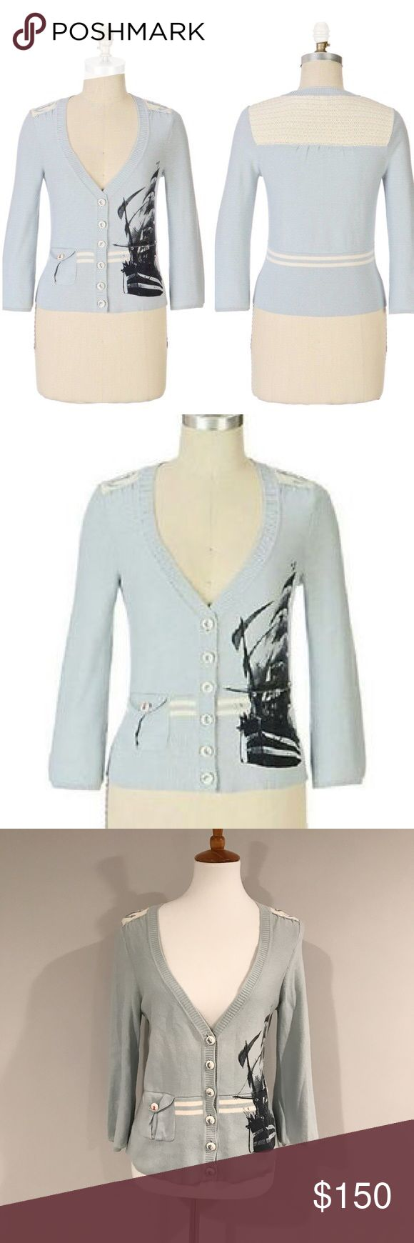 Anthropologie Nautical Cardigan Cotton cardigan by Anthropologie brand Moth. Features lace back panel, three quarter bell sleeves, and cropped fit. Excellent used condition! Very rare! Anthropologie Sweaters Cardigans