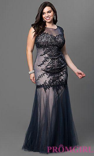 Plus Size Floor Length Embroidered Dress by Elizabeth K at PromGirl.com