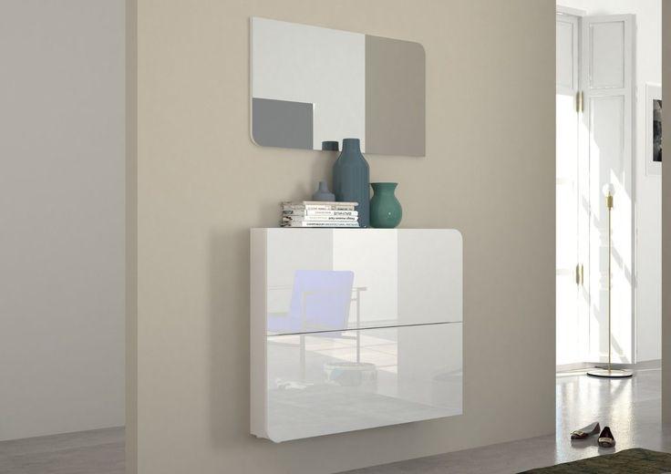 Scarpiera Vita, mobile ingresso bianco o nero, con specchio, entrata, corridoio in Casa, arredamento e bricolage, Arredamento, Mobili e pensili | eBay