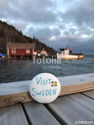 "Download the royalty-free photo ""Visit Sweden, souvenir on a painted stone"" created by Ciaobucarest at the lowest price on Fotolia.com. Browse our cheap image bank online to find the perfect stock photo for your marketing projects!"