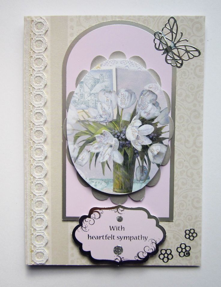 SY 169 4 With Heartfelt Sympathy 10×14 cms The oval picture is mounted on its own mat and attached to a delicate backing design. One lace border and silver butterfly added. A co-ordinating insert is included. £2.50 Please follow and like us: