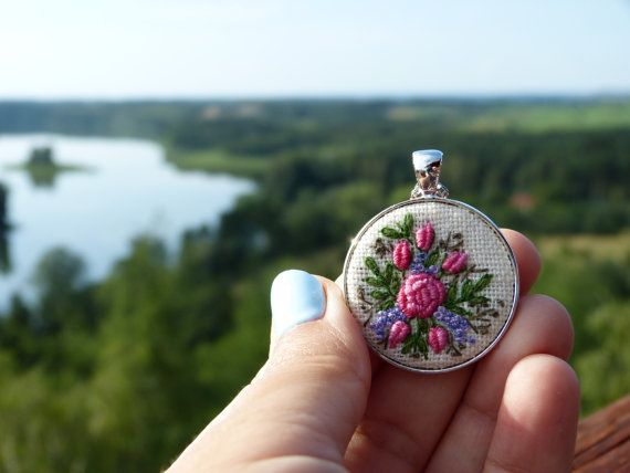 Hand embroidered  pendant necklace by EmbroideredJewerly on Etsy