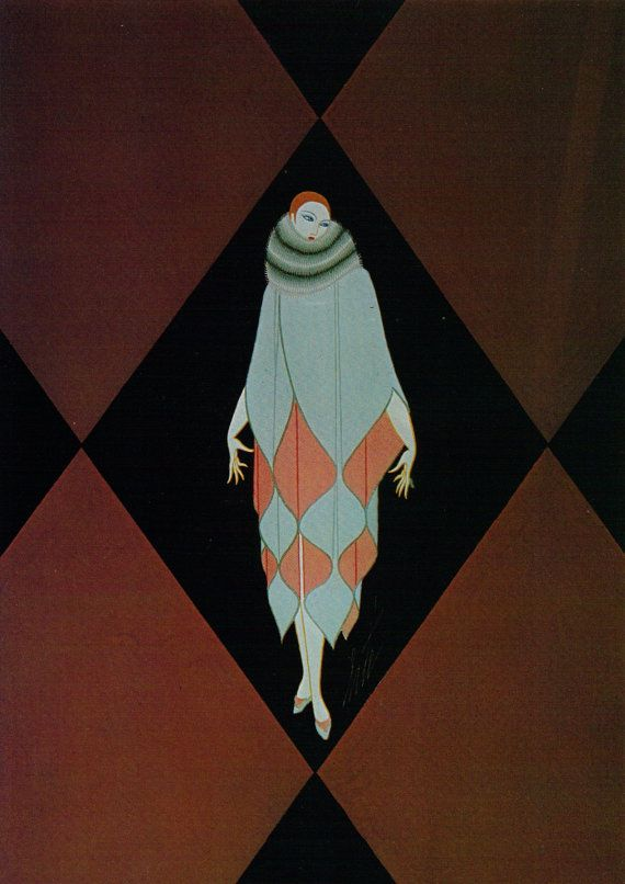 Erté Print, Art Deco Dress Design Vintage Art Original Print. Sumptuous Eye…