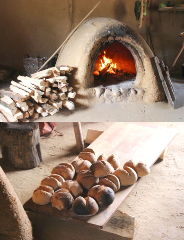 VIKING BREAD OVEN.... Most viking breads were made from freshly, hand ground, rye flour (wheat is a north african grain!), with slowly fermented sourdough. The baking process in the clay oven, fired with beech logs, could take up to 48 hours. Such breads last for at least one week, without going stale! source: http://vikingsnitt.blogg.no/