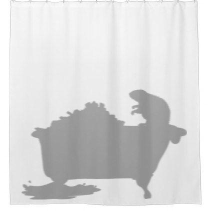 Beaver Dam Tub Behind Shower Silhouette Shadow Fun Shower Curtain - shower curtains home decor custom idea personalize bathroom