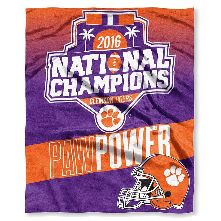Clemson Tigers 2016 College Football Playoff National Champions Silk-Touch Throw by Northwest, Multicolor