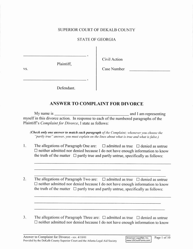 Answer to complaint sample fresh best s of divorce