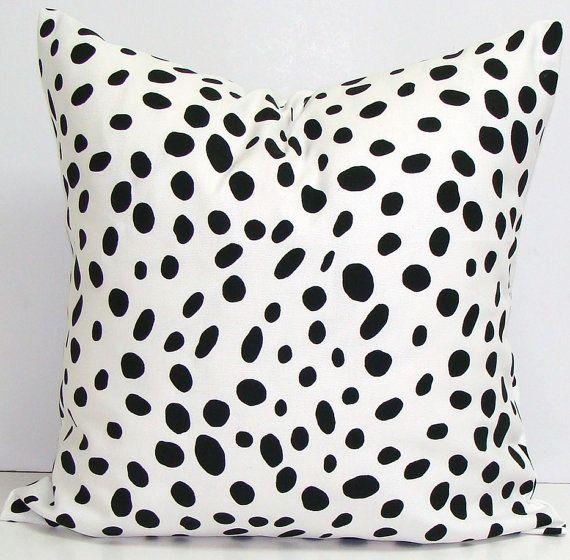 Black White PILLOW.16x16 inch.Pillow. Pillow Cover.Decorative Pillow.Housewares.Black Pillow.Polka Dot.Spots.Cushion.Dalmation.Animal.Cm