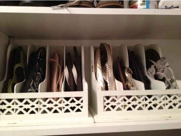 Use letter organizers to store flip flops or flats. | 41 Creative DIY Hacks To Improve Your Home