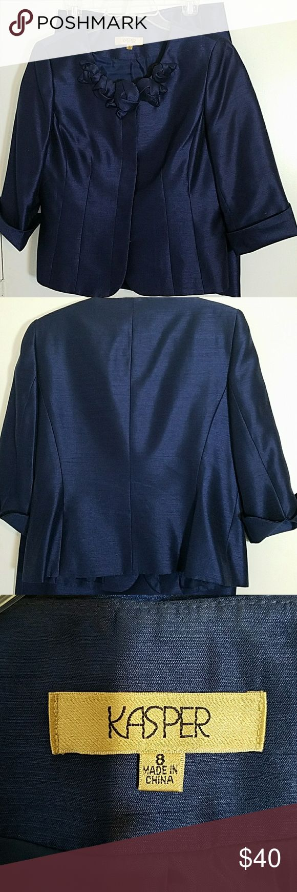 Mother of the bride skirt suit. Gorgeous dark shiny navy Kasper skirt set. Size 8. Worn once to a wedding.  Pictures don't do it justice. Kasper Dresses