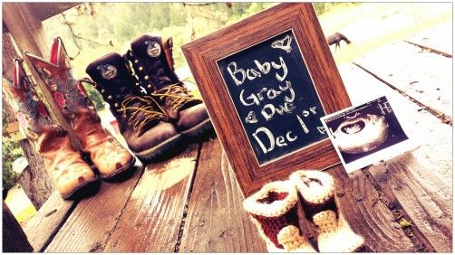 Country baby announcement cowboy boots ♡
