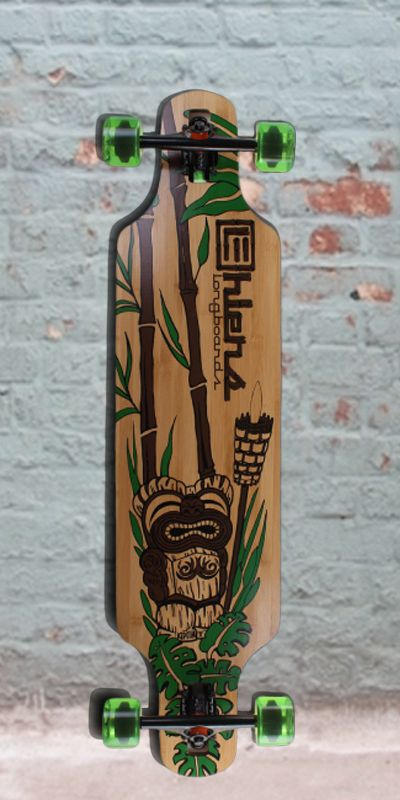 "Bamboo Drop Through Longboard Tiki God 40"" from Ehlers - Complete"
