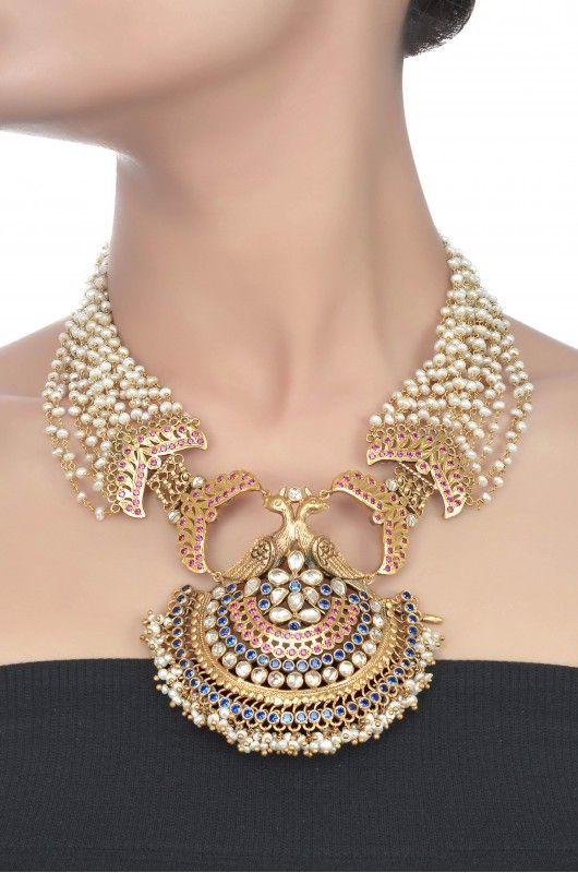 Silver Peacock Multi Strand Pearl Necklace