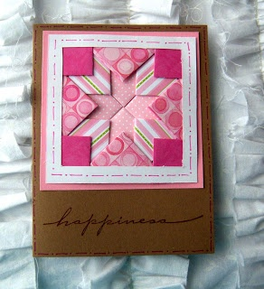 handmade quilt card ... folded strip technique ... kraft base card ... quilt in patterned papers of warm rosy pink ... luv it!!