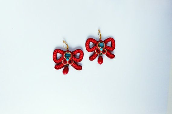 Red Ribbon Earrings red ribbons soutache jewelry adorable present for her romantic accessories