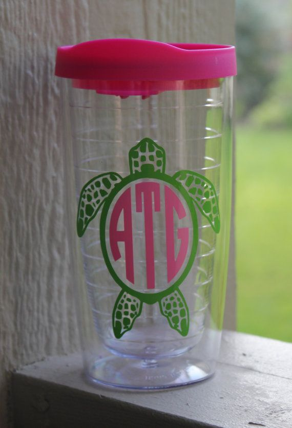 Personalized Acrylic Tumbler  with Sea Turtle and by kansascuties, $15.00