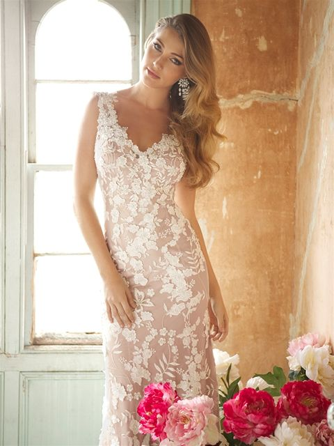 "Vintage Gold satin slip with Ivory lace overlay. ""Rhiannon"" dress at Jenny's Bridal. www.jennysbridal.co.nz"