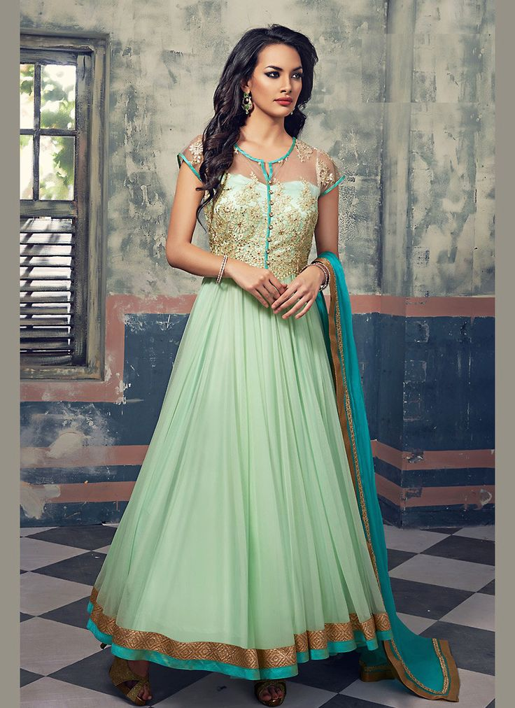 Appear ethnic in this affluent Aloe Vera Green Georgette Unstitched Salwar Kameez. The lovely Butta Work & Resham work a substantial attribute of this attire. Top Details Color - Green Sub Color - Alo