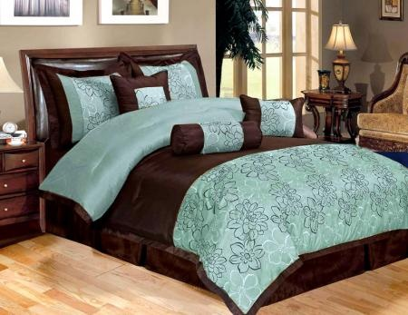 turquoise and brown bedding | New 11 Piece Queen Bedding Aqua Blue Brown  Peony Comforter Set - 71 Best Turquoise Bedroom Images On Pinterest Home, Bedroom
