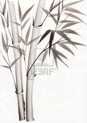 Originele kunst, waterverf het schilderen van bamboe, Aziatische stijl schilderen Stockfoto