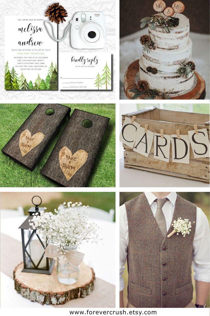 Country christmas wedding invitations