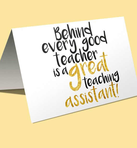 Behind every good teacher is a great teaching assistant cute instant download card by FloxCreative