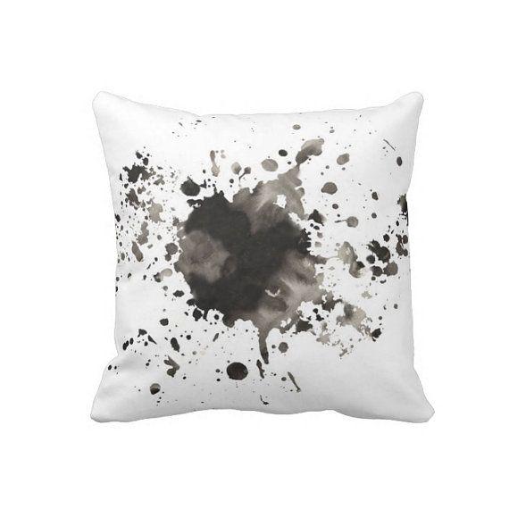 Gore arte moderno pillow, salpicadura de pintura, almohadilla, almohadilla acuarela, pintado almohada, almohada blanco negro, almohada de acento, almohada mínimo