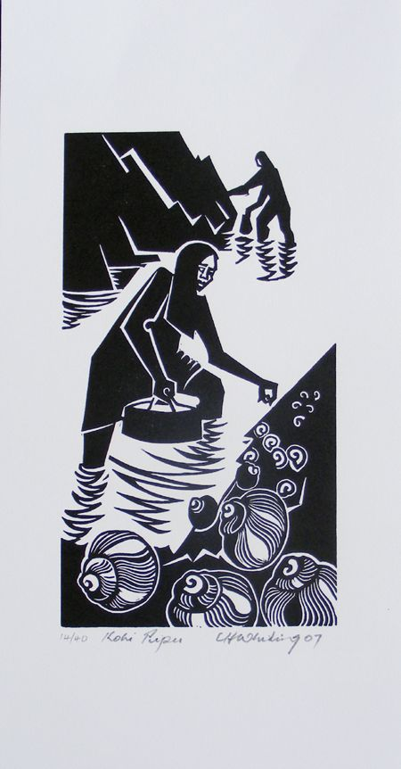Artist Cliff whiting, print from lino cut. Pupu gathering.