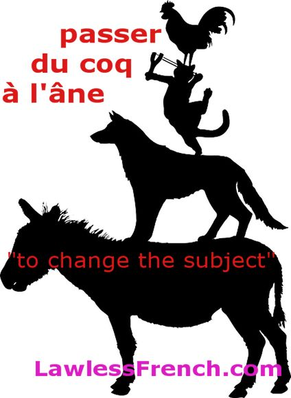 Passer du coq à l'âne - To change the subject  https://www.lawlessfrench.com/expressions/passer-du-coq-a-lane/  #frenchexpression #learnfrench #fle #french