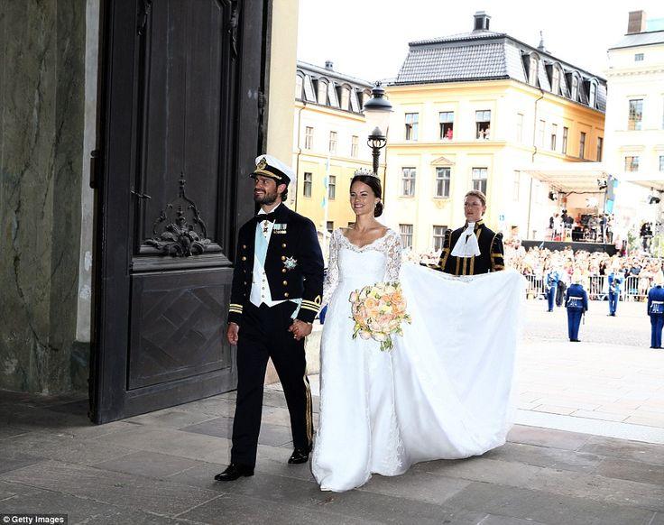 Breathtaking: Prince Carl Philip and his beautiful bride, Princess Sofia, leave their wedd...