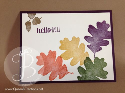 handmade fall leaves card made using Stampin' Up! For All Things stamp set.