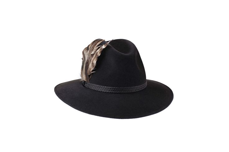 The Festival Fedora Collection   Willow Fedora   Charcoal Black   Black Braid & Feather Band www.penmane.com #fedora #hats #accessories